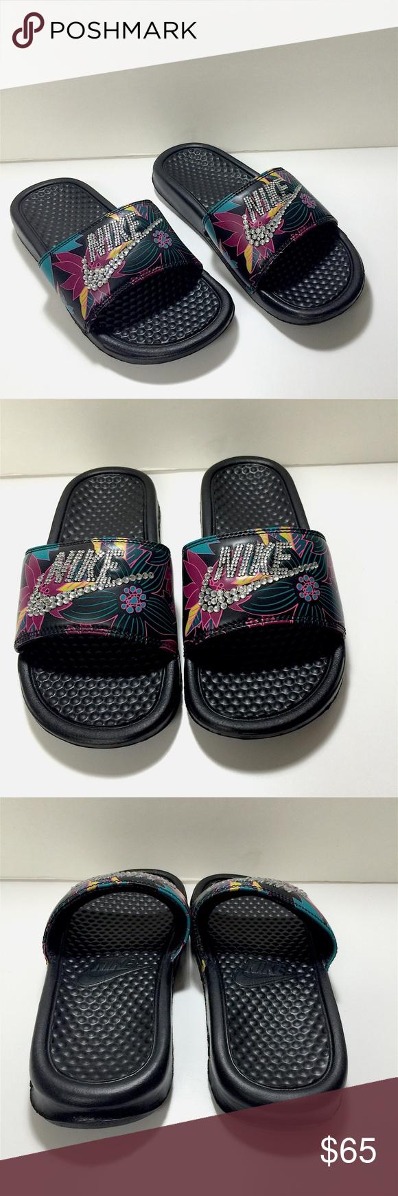 1ad6fdf4953a Custom Blinged Nike Slides CUSTOM MADE Blinged out Nike Slides ...