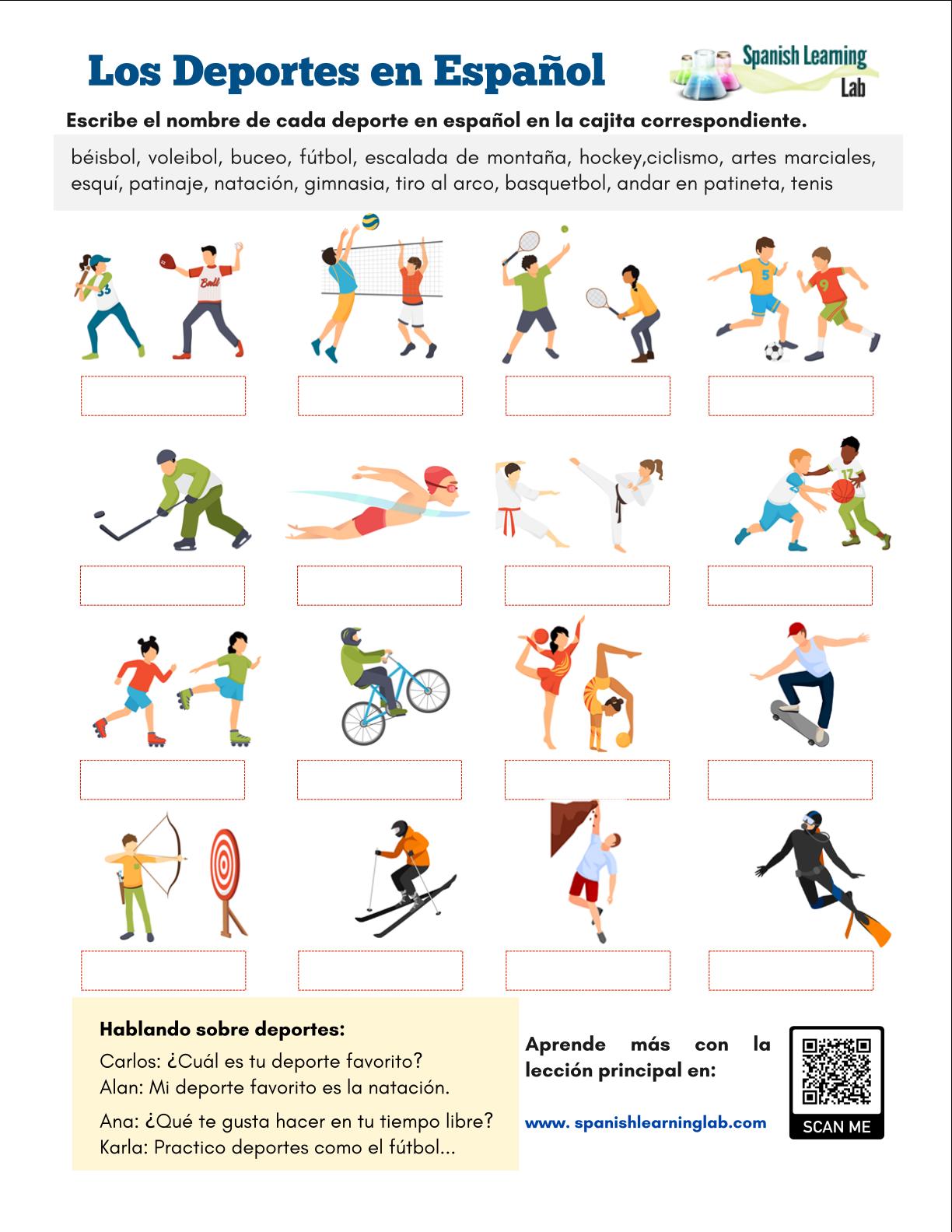 Spanish Sports Vocabulary By Christina Zeoli On Teaching
