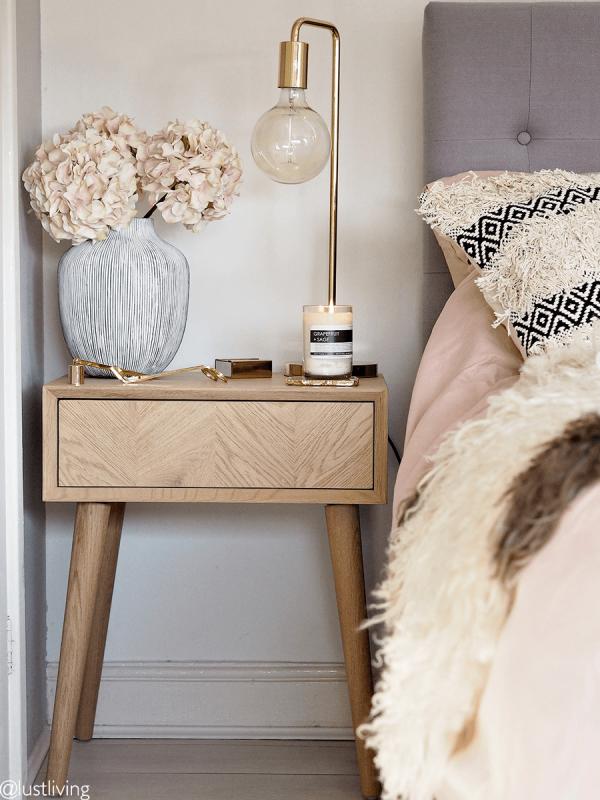 Chevron Oak Side Table | Copper bedroom decor, Side tables ...