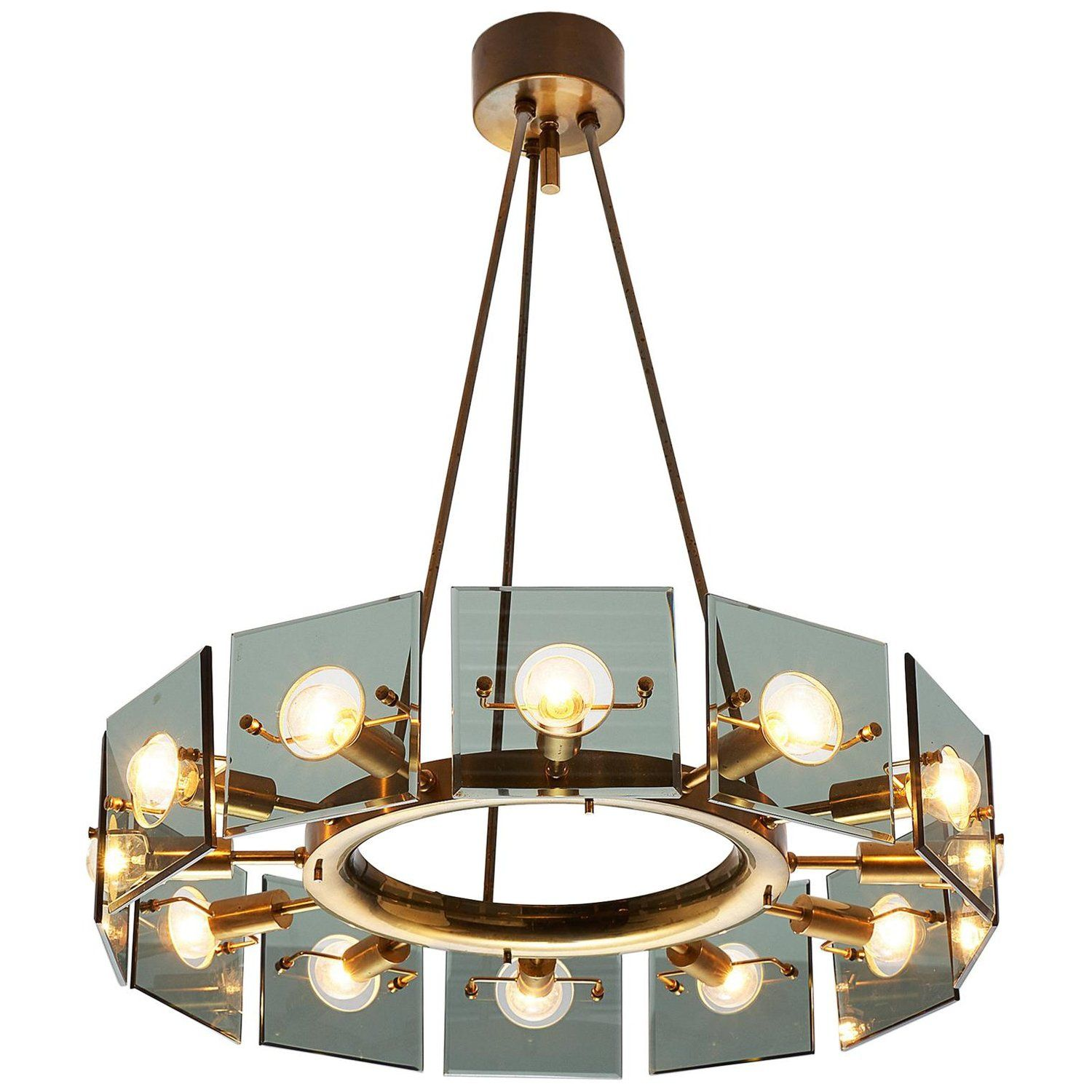Italian Chandelier In Glass And Brass Circa 1950 With Images