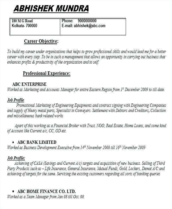 Proper Resume Template Resume Templates Banking