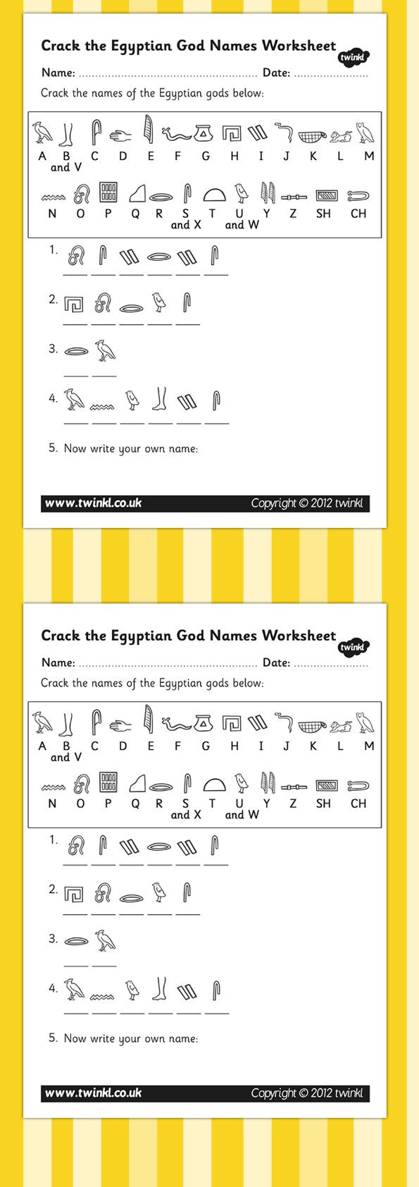 Worksheets Ancient Egypt Worksheets ks2 ancient egypt crack the hieroglyphs egyptian gods names worksheets