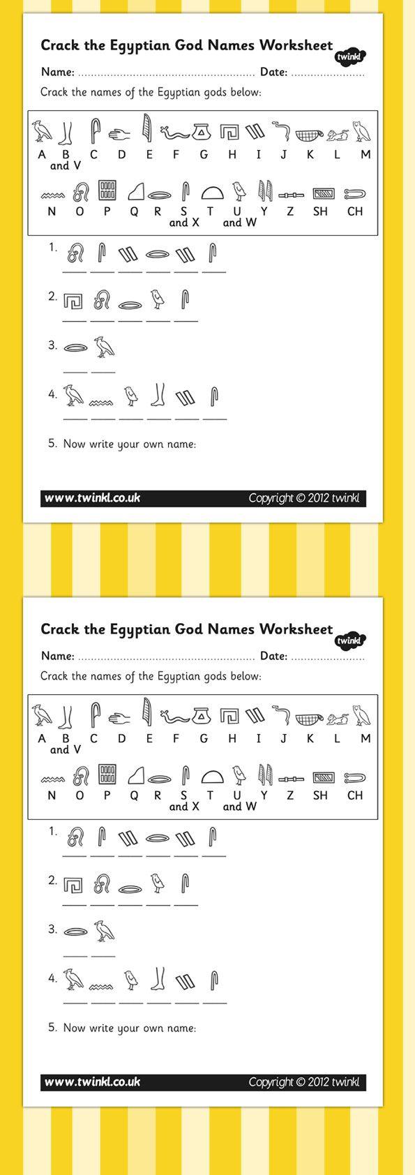KS2 Ancient Egypt- Crack the Hieroglyphs Egyptian Gods Names ...