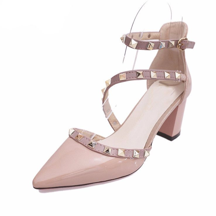 Pointed Toe Rivets Strap Square Women High Heels Shoes