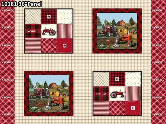 FarmAll Tractor Postcards On Hessian Print 100/% Cotton Patchwork Fabric