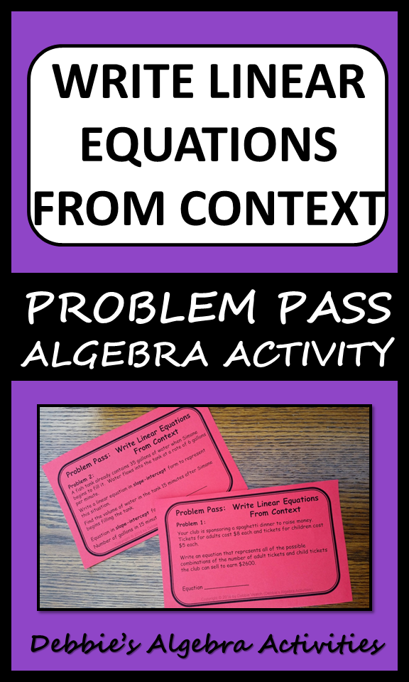 Write Linear Equations From Context Problem Pass Activity Algebra