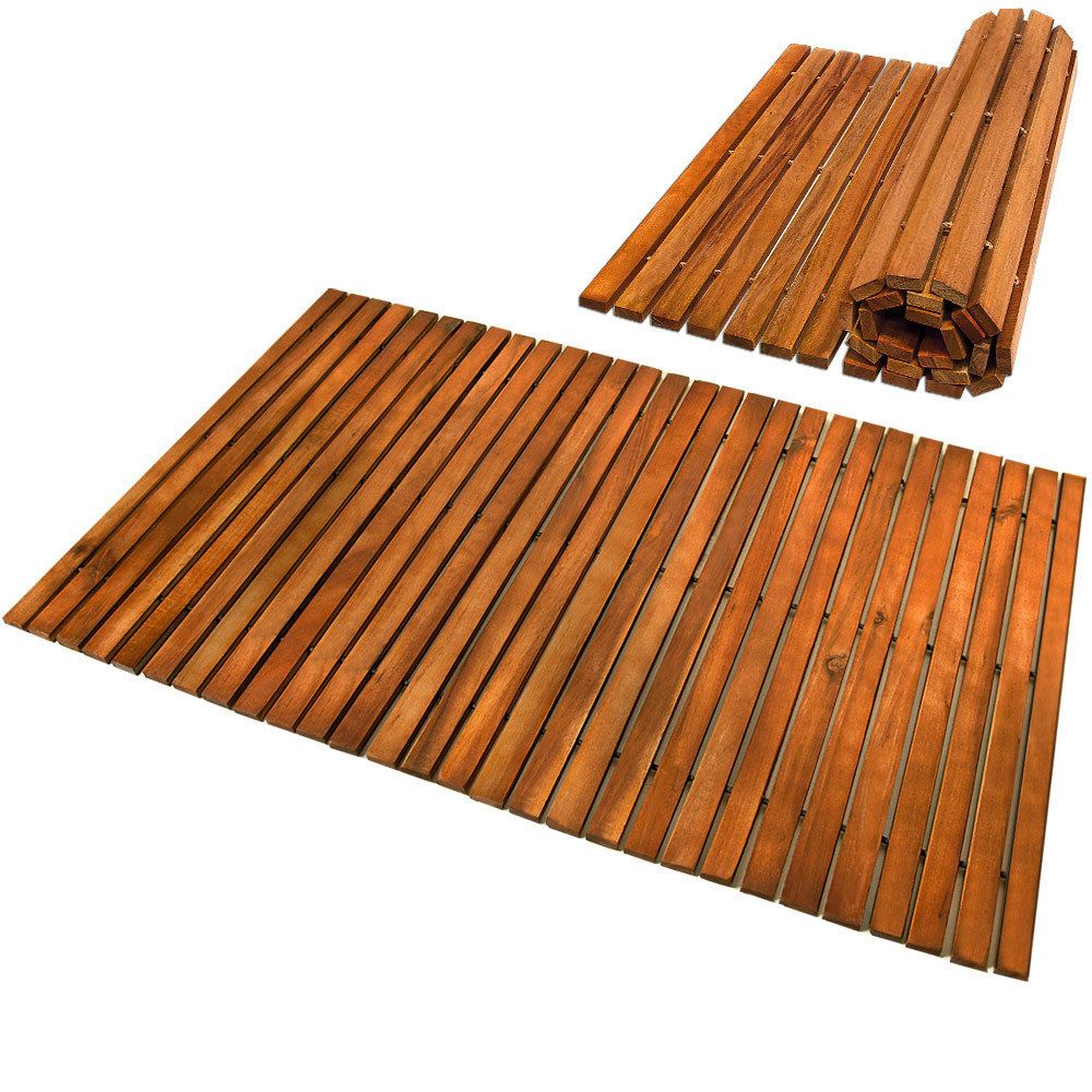 Bath Mat Wooden Acacia Bathroom Mat Set Rectangular Anti Slip Shower Spa Mat Shower Mat Wooden Shower Mat Bathroom Mats
