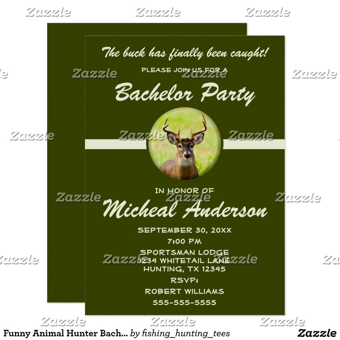 Funny Animal Hunter Bachelor Stag Party Invitation | Party ...