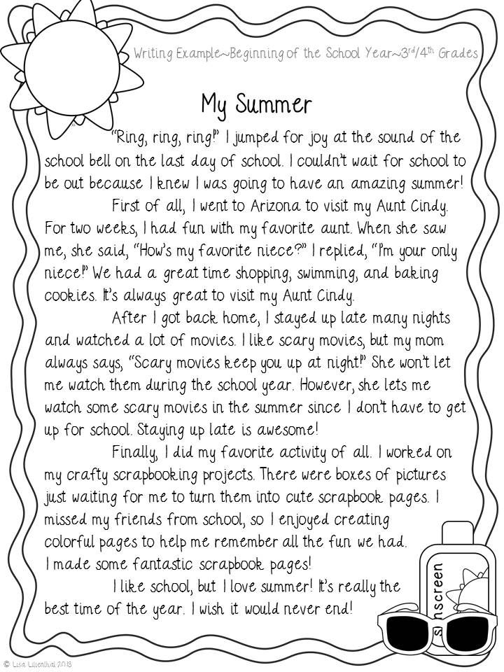Narrative Writing Example 3rd/4th Grades- Great for a back to school ...