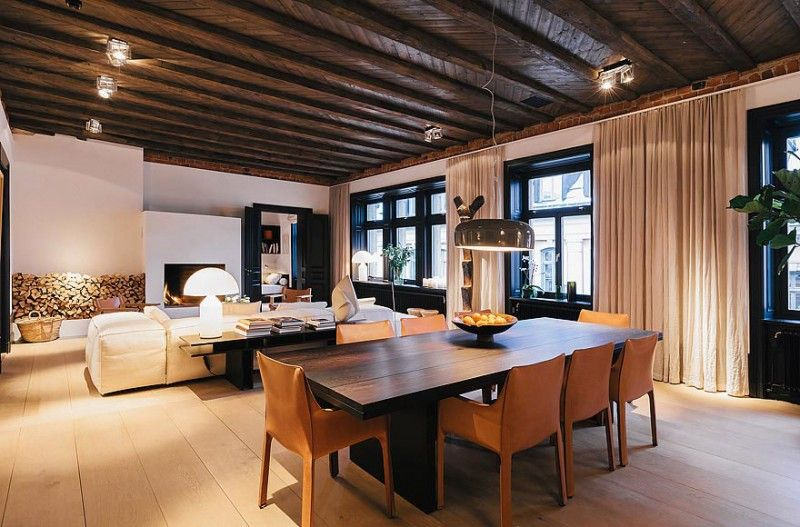 Dark Wood Ceiling scandinavian design: stunning apartment in norrmalm | apartments