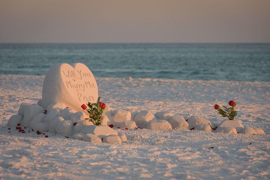 Sand sculpture proposal!  #DestinBeachPhotography #DestinFL #Engagement #SheSaidYes #SandSculpture