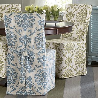 Damask Dining Chair Cover From Through The Country Door Dining Chair Covers Dining Room Chair Covers Blue Dining Chair