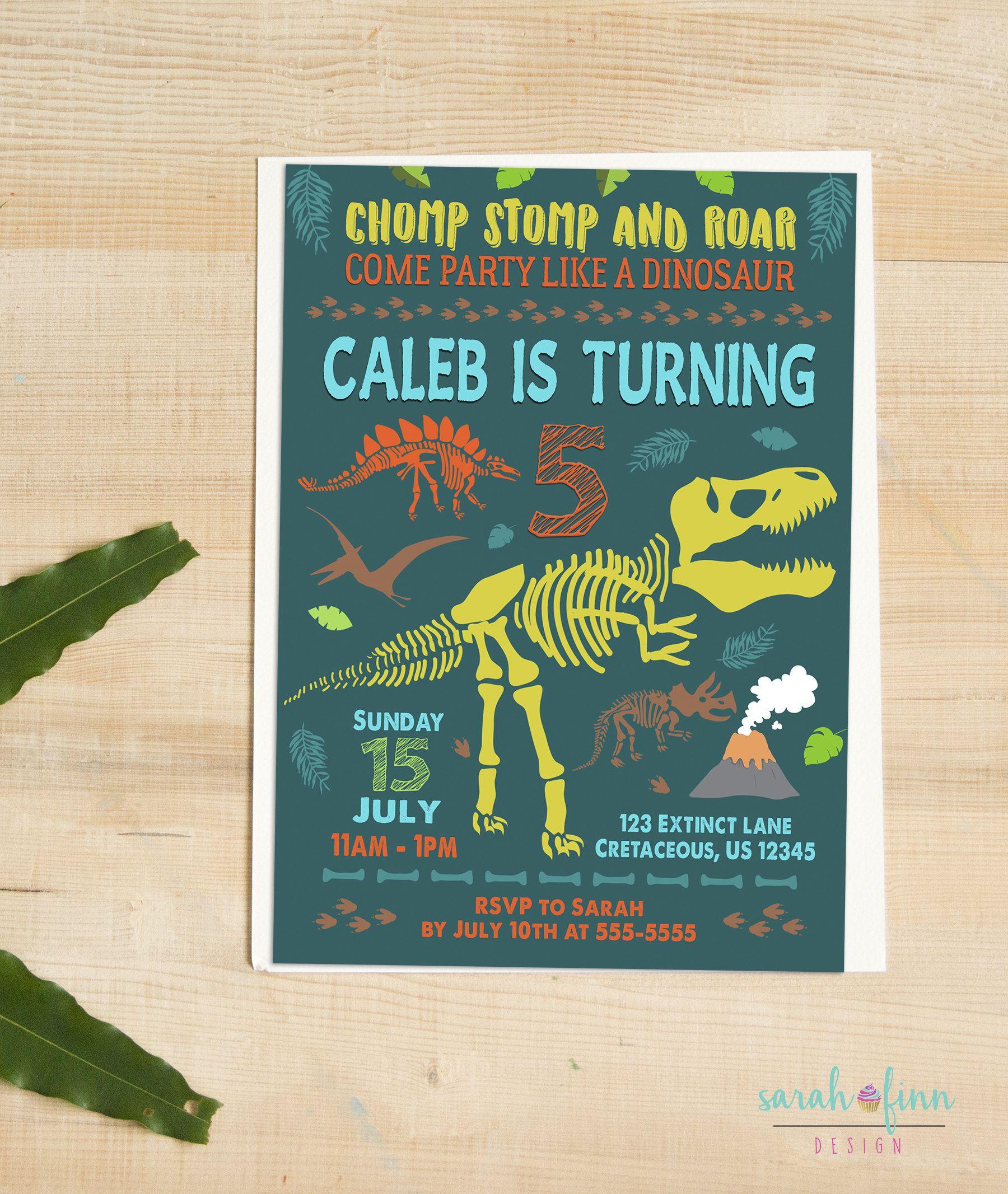 Dinosaur Birthday Invitation Party Printable Fossils T Rex Chomp Stomp Roar Dino Fossil Teal Green Boy Invite By