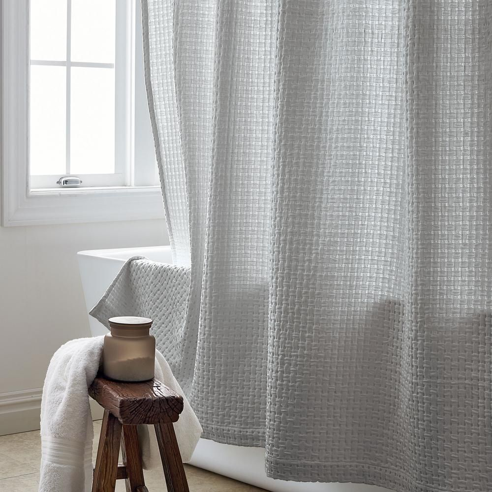 The Company Store Basket Weave 72 In Silver Shower Curtain