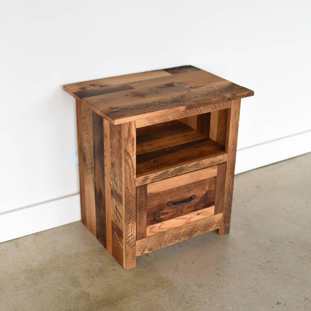 Rustic Bedside Table Reclaimed Wood Nightstand Handmade Side