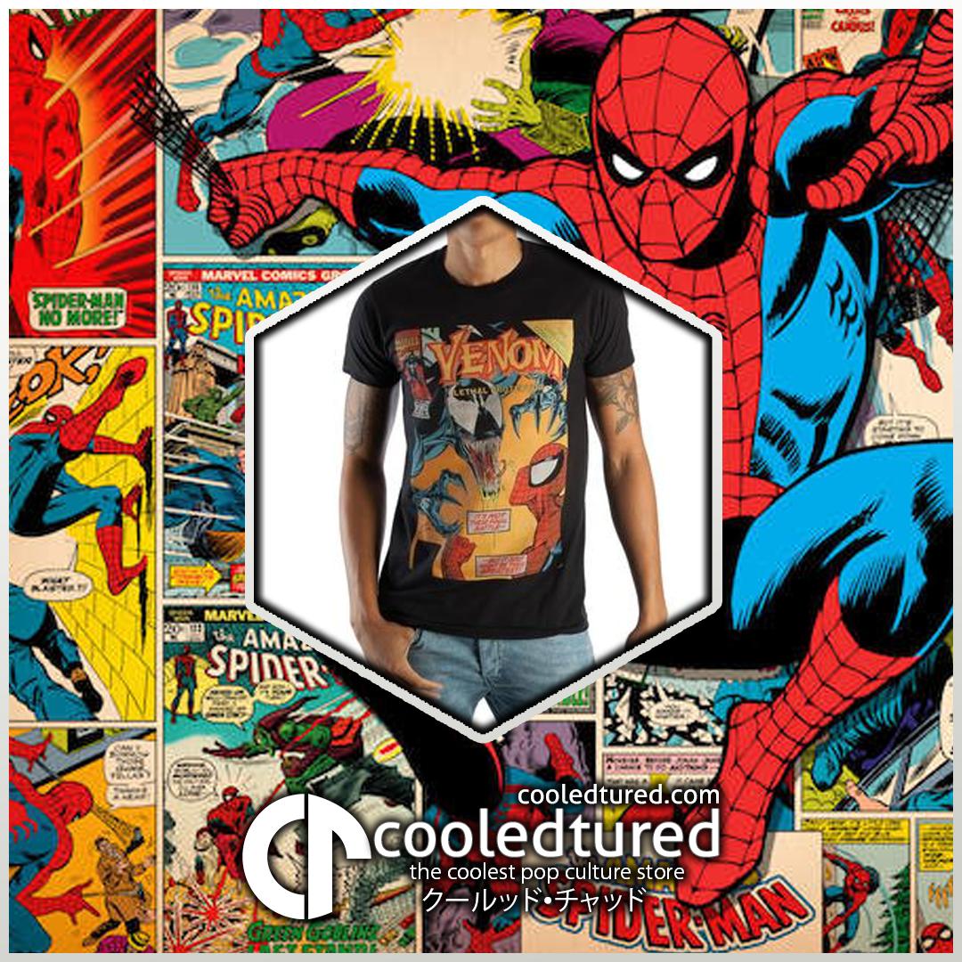 Marvel Spiderman VS Venom Apparel Tee Shirt Fashion -  Classic Venom Marvel Comic Book Cover Artwor