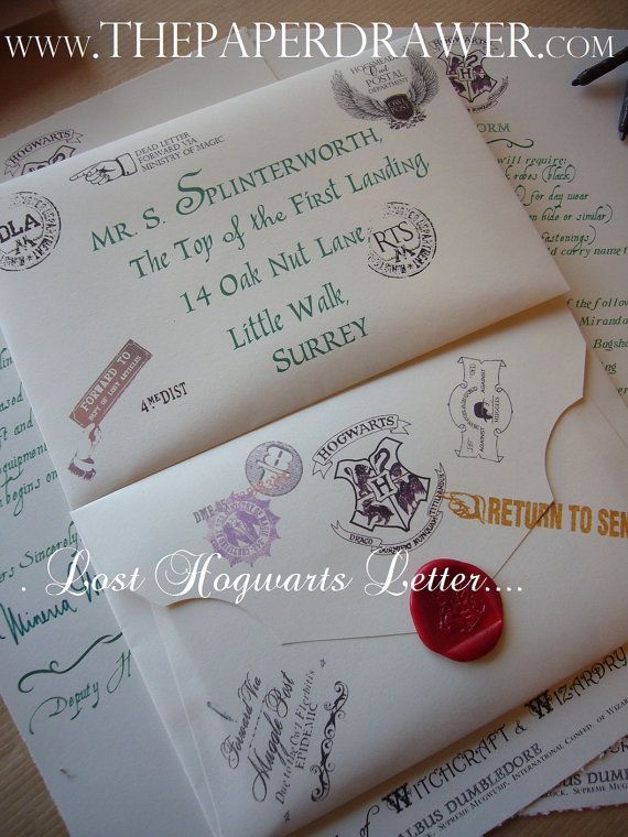 Lost Hogwarts Letter Book UK Version Green Font By ThePaperDrawer, $14.00