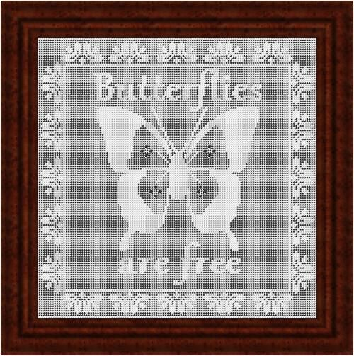 Filet Crochet Chart Butterflies Are Free Heirloom Crochet Doilies