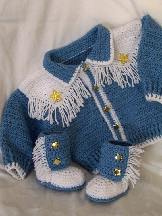 6399fc103d74 Adorable Fringed Cowboy Style Sweater and Booties- 6-9 mo. Added ...