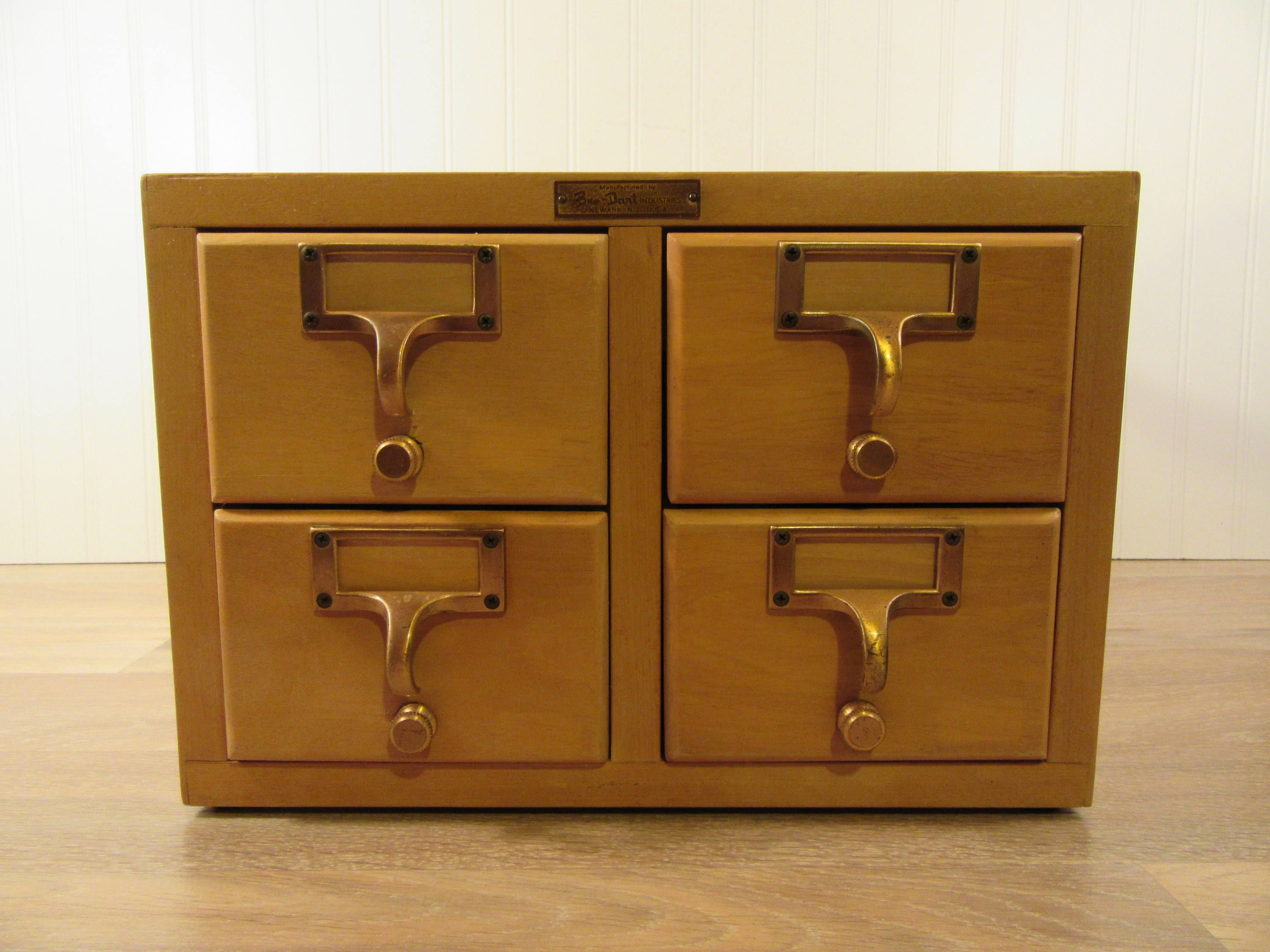 Four Drawer Wood Library Card Catalog With Pull Out Drawers And