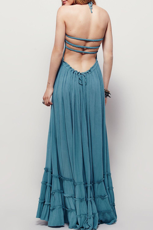 Casual A Line Halter Backless Sleeveless Maxi Dress Stylesimo Com Backless Maxi Dresses Elegant Maxi Dress Maxi Dress [ 1500 x 1000 Pixel ]