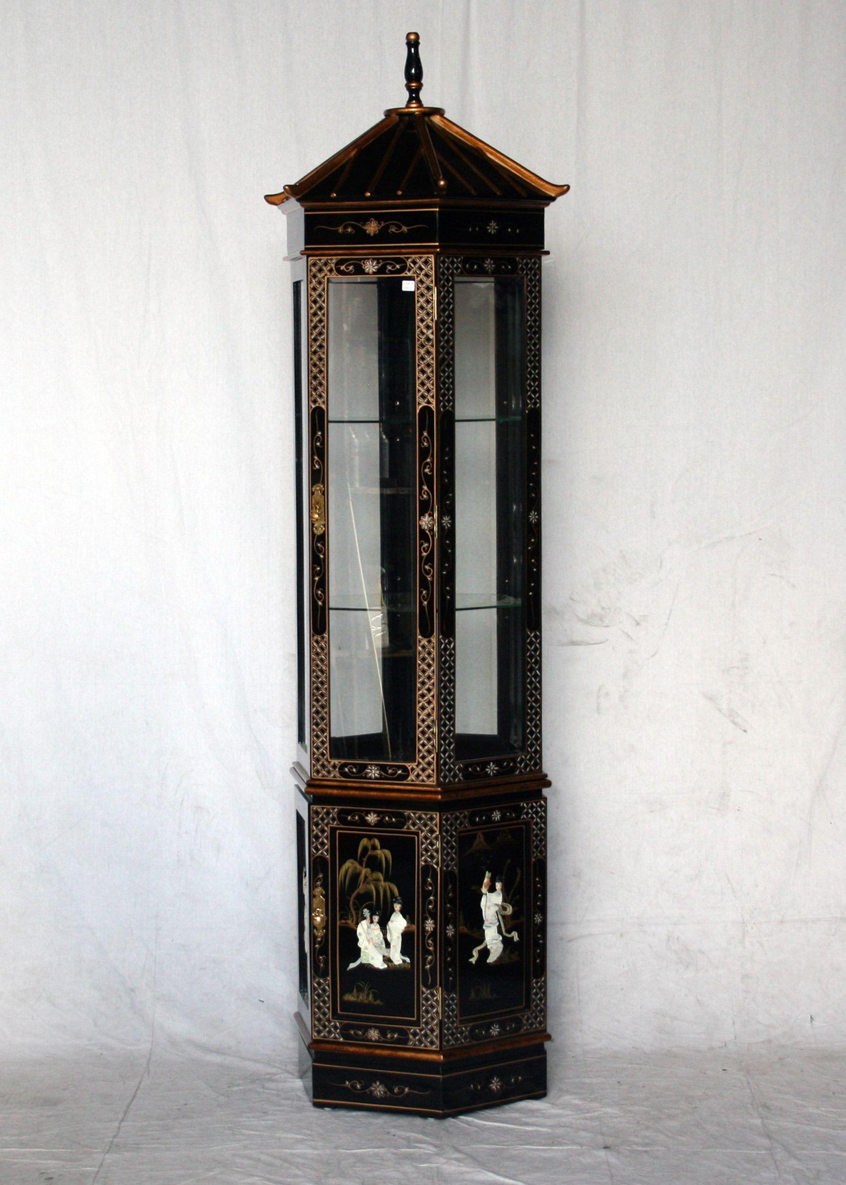 Black Lacquer Pagoda Curio Cabinet. Furniture Oriental