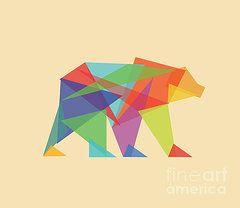 Framed Prints - Fractal geometric Bear Framed Print by Budi Satria Kwan