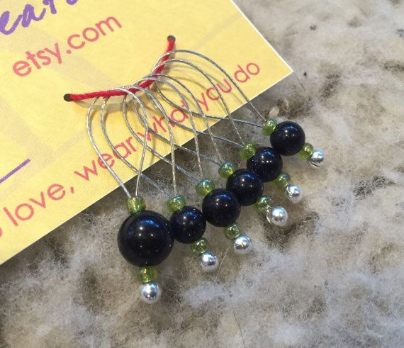 Blue Goldstone Loop Stitch Markers by circusgirlcreations on Etsy