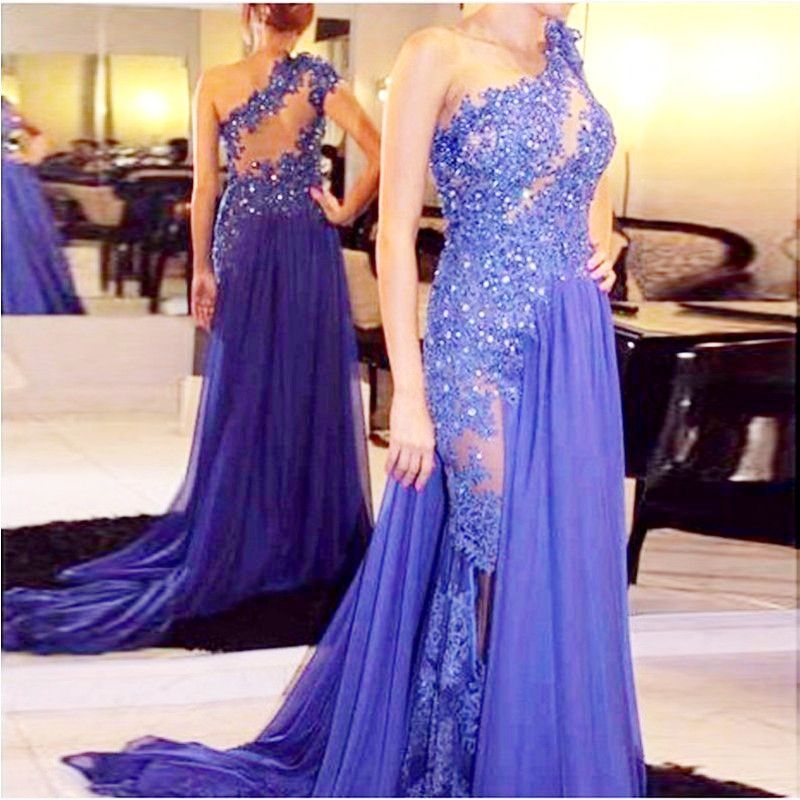 Floor Length Chiffon See Through One Shoulder Appliqued Lace Party Gown