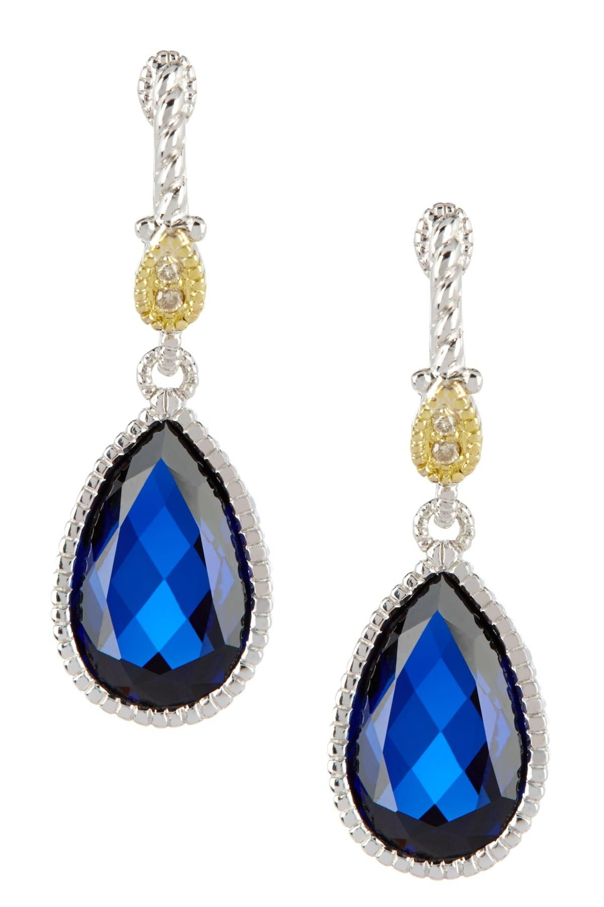 18K Gold and Diamond Accented Silver Marina Blue Corundum Drop Earrings