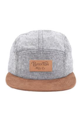 fa7fd334f79bf Brixton Cavern 5 Panel Hat - Black Brown