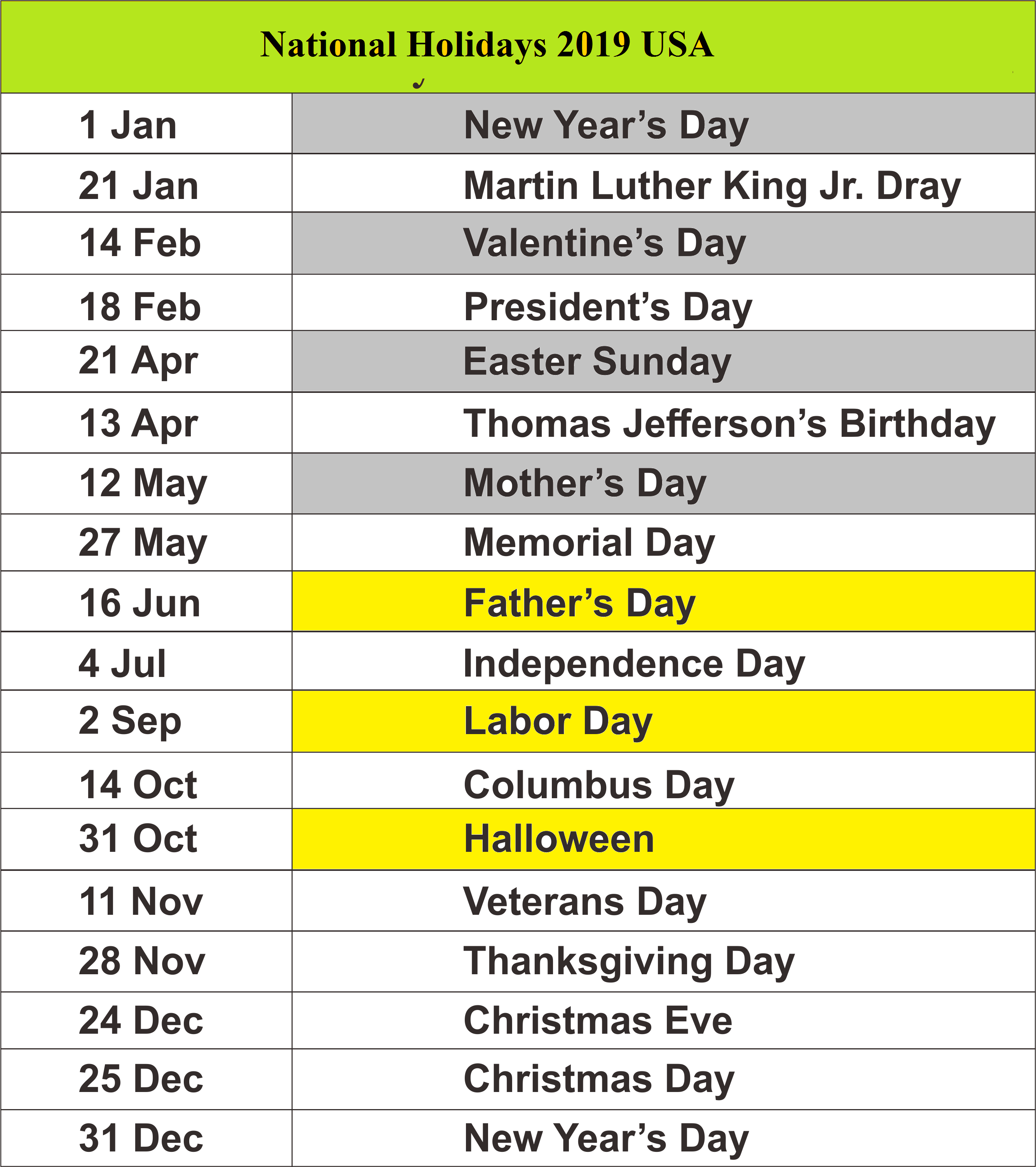 Public Holidays 2019 For Usa School Holiday Calendar Us Holiday List Holiday Quotes