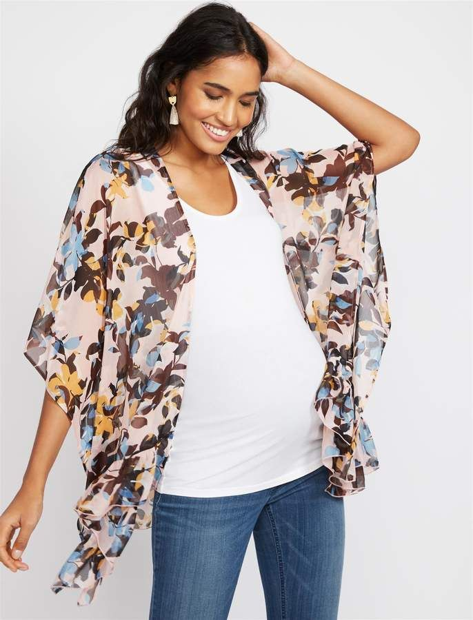 dc3bff03634a8 Motherhood Maternity Ruffled Floral Maternity Kimono Breastfeeding Clothes, Maternity  Tops, Kimono Top, Floral