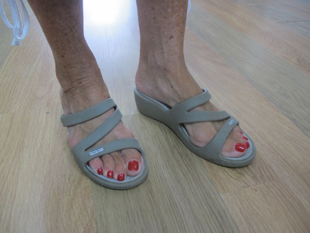 Karen wearing women's swiftwater sandals at work oh so