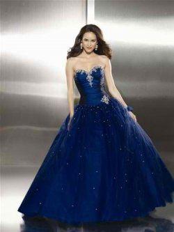 Starry Night Sky Navy Ball Gown Prom Dress