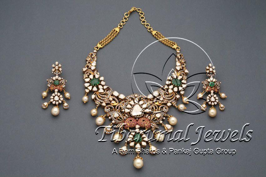 Flat Diamond Locket Set | Tibarumal Jewels | Jewellers of Gems, Pearls, Diamonds, and Precious Stones