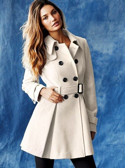 2fce918f06f28 VICTORIA SECRET. Ivory Wool Trench Coat Outerwear. Taille 34 - 38 ...