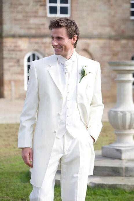 Custom Made Handmade White Three Piece Mens Wedding Suits Groom Tuxedos Dress Formal Party