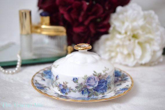 Royal Albert Moonlight Rose Butter Dish, English Bone China Tableware, Replacement China, ca. 1987