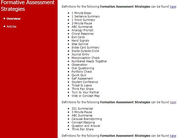Formative Assessment Strategies-Aliquippa School District