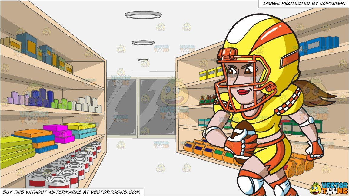 A female football player charging ahead and a supermarket