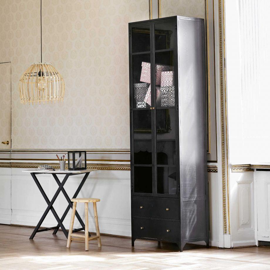 Tine K Home Metall Vitrine Mit Glasfront Und Zwei Schubladen