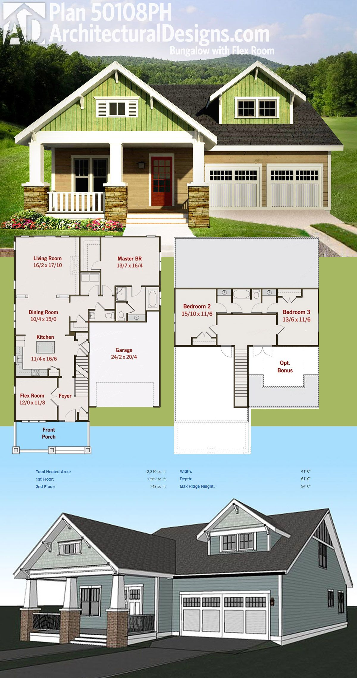 Plan 50108PH Bungalow with Flex Room Bungalow house
