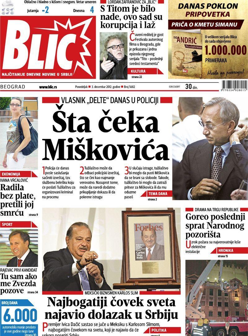 """Naslovna strana """"Blica"""" za 3. decembar 2012. Baseball cards"""