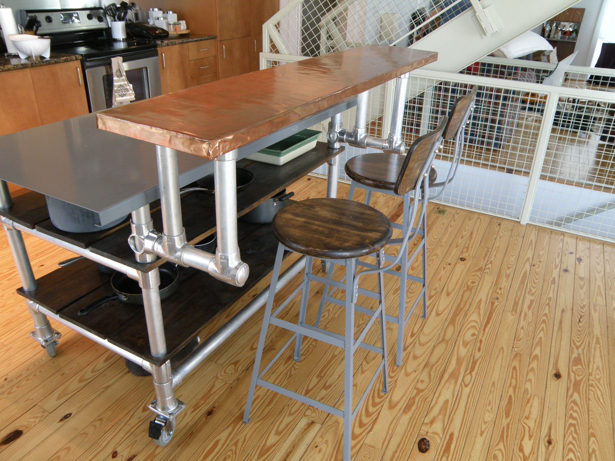 Kitchen. Homemade Kitchen Island Cart On Wheels With ...