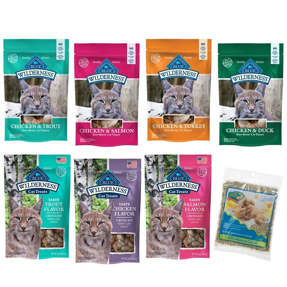 Blue Buffalo Wilderness Grain Free Cat Treats Variety Pack And Catnip Soft And Crunchy Flavors 2 Ounces Each 7 Pouches T Free Cats Cat Treats Blue Buffalo