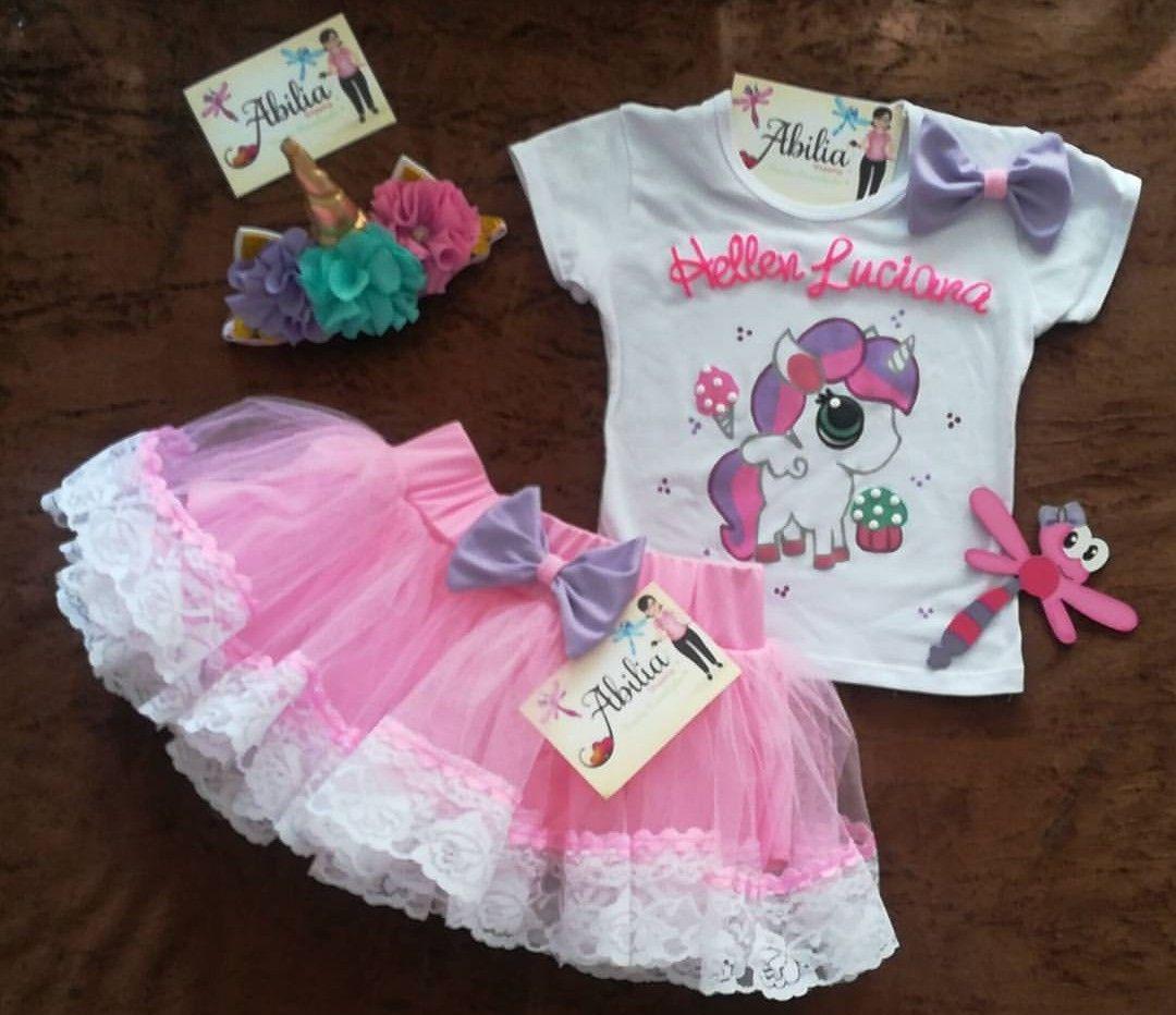 Conjunto tutu personalizado unicornio Abilia shopping pony 2cd0619840f