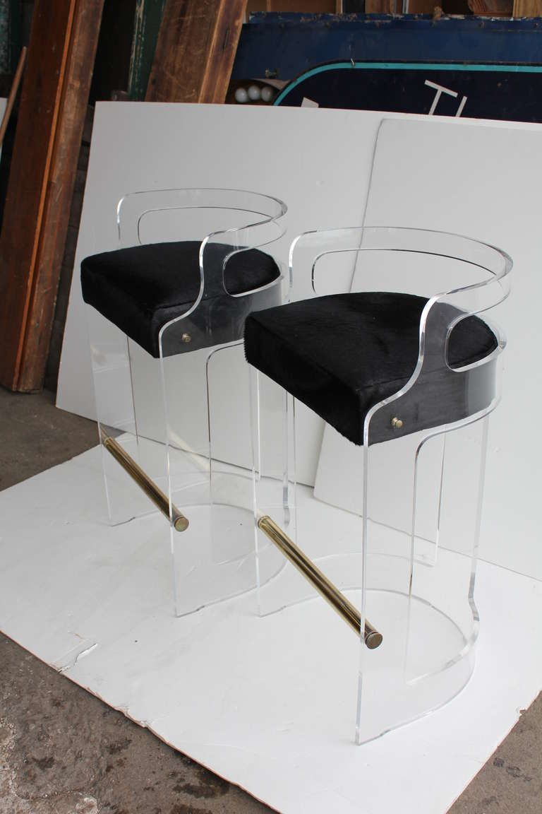 mid century lucite bar stools with cowhide seats
