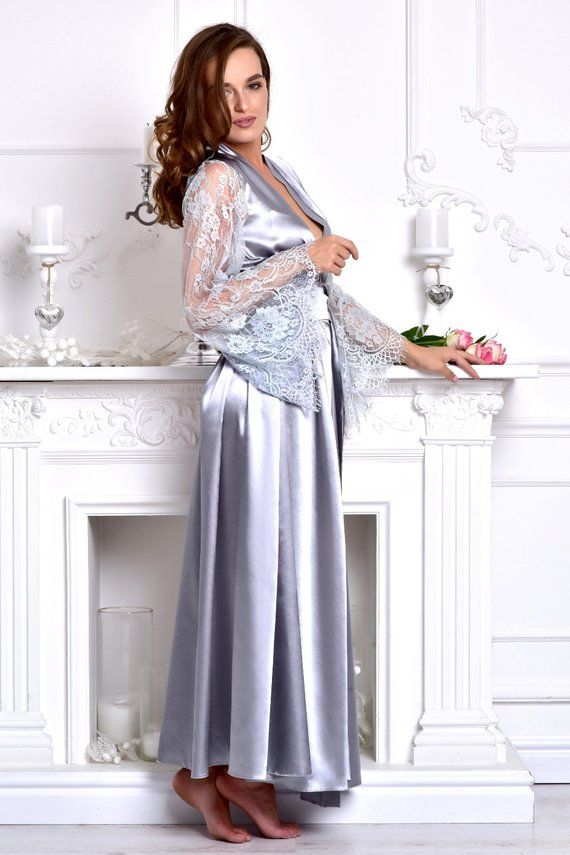 Gray long bridal robe Bridesmaid kimono robe Satin bridal dressing gown  Long lace bridal robe Long r 24f2be609