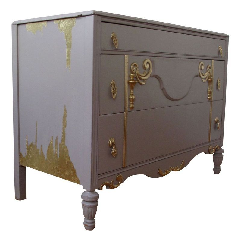 Best Vintage Gray Painted Dresser With Gold Trim Grey Paint 640 x 480